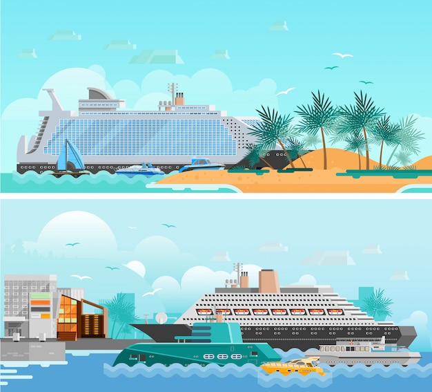 Conjunto de banners horizontais plana de férias de cruzeiro Vetor grátis