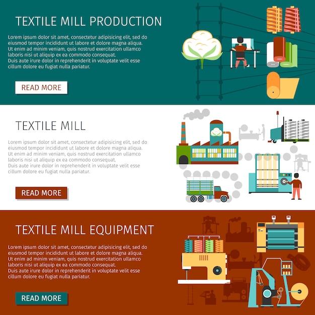 Conjunto de banners horizontais plana de moinho têxtil Vetor grátis