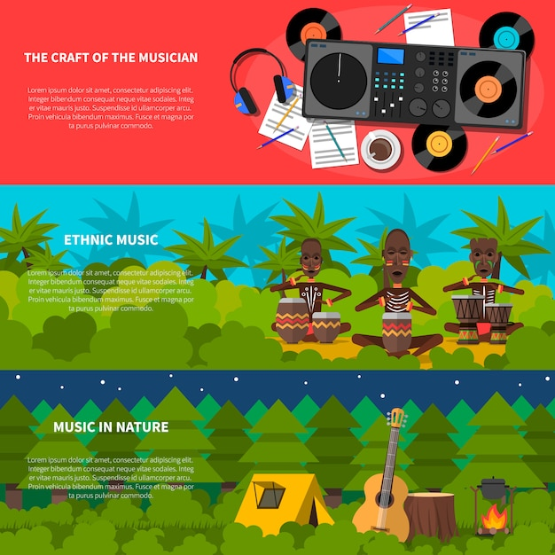 Conjunto de banners horizontais plana de música étnica Vetor grátis