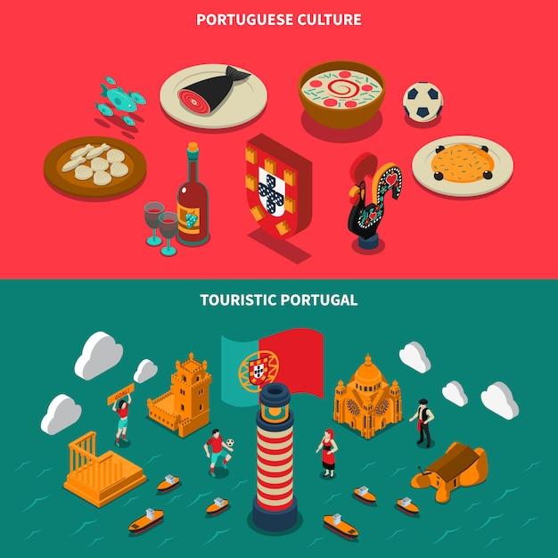 Conjunto de banners isométrica de portugal Vetor grátis