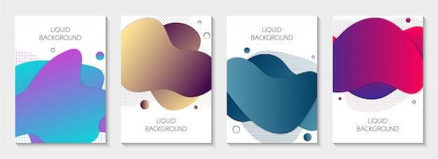 Conjunto de banners líquidos abstratos Vetor Premium