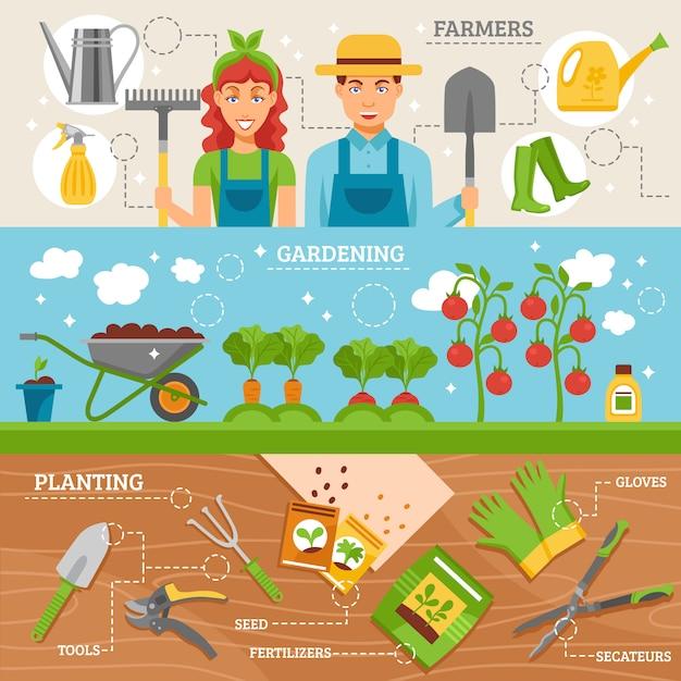 Conjunto de banners plana de jardinagem de agricultores Vetor grátis