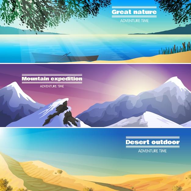 Conjunto de banners plana de paisagens de acampamento Vetor grátis