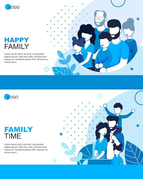 Conjunto de banners plana de tempo feliz de família dos desenhos animados Vetor Premium