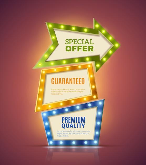 Conjunto de banners premium light Vetor grátis