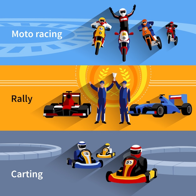 Conjunto de banners racer Vetor grátis