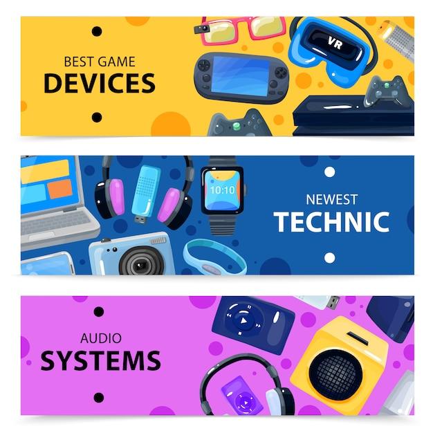 Conjunto de banners smart technics Vetor grátis