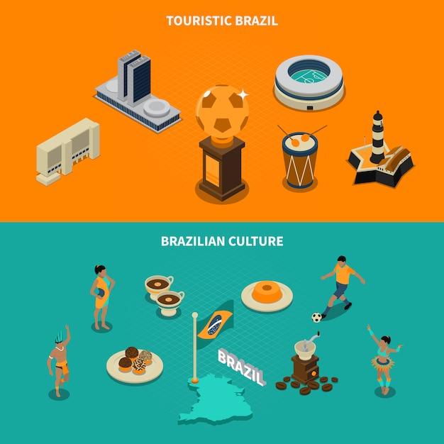 Conjunto de banners turístico brasil Vetor grátis