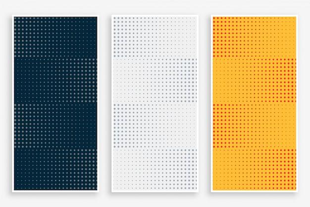 Conjunto de banners vazios de meio-tom abstrato Vetor grátis