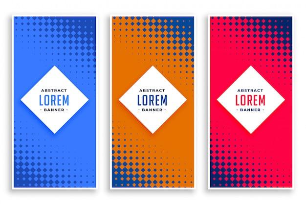 Conjunto de banners verticais abstrato de meio-tom Vetor grátis