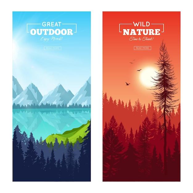 Conjunto de banners verticais com floresta de pinheiros realista perto do lago de montanha e ao pôr do sol isolado Vetor grátis