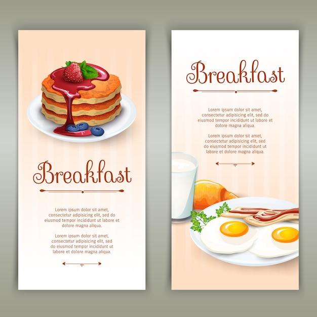 Conjunto de banners verticais de café da manhã 2 Vetor grátis