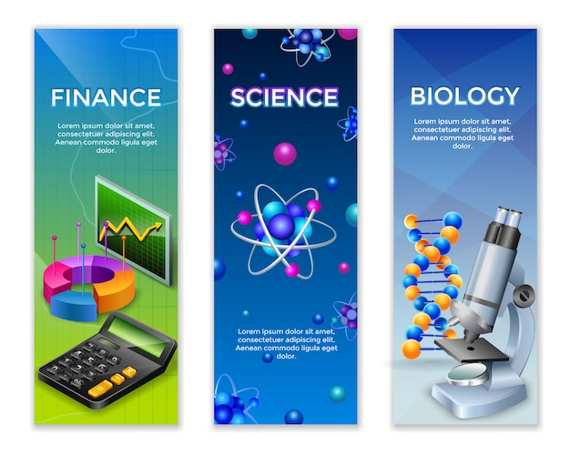 Conjunto de banners verticais de ciência Vetor grátis