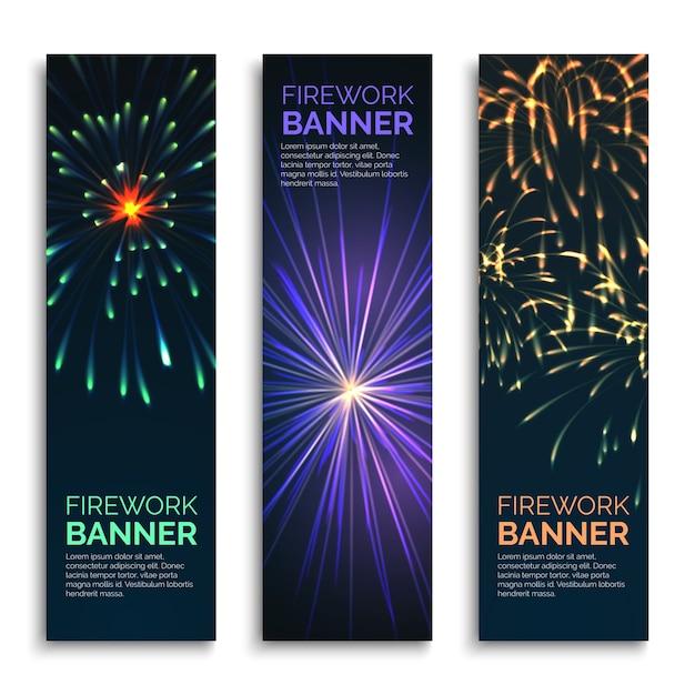 Conjunto de banners verticais de fogos de artifício de vetor. comemoração de cartão, explosão e ilustração de carnaval feliz Vetor grátis