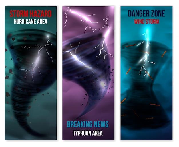 Conjunto de banners verticais de furacão Vetor grátis