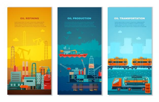 Conjunto de banners verticais de indústria de petróleo Vetor grátis