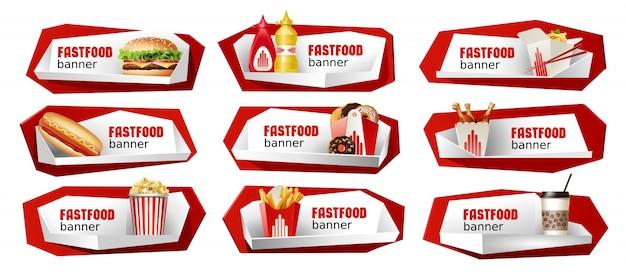 Conjunto de banners vetoriais de fast food. Vetor grátis