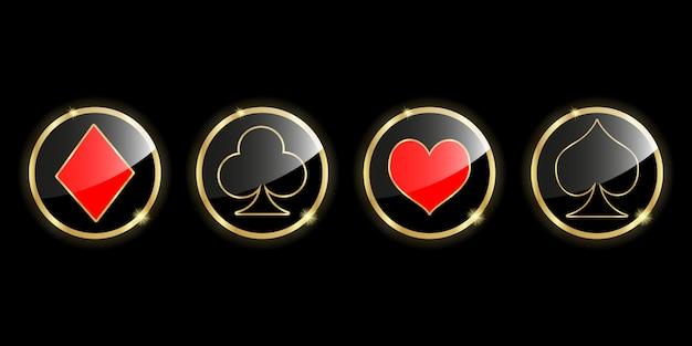 Conjunto de baralho de cartas de símbolos para jogar poker e casino. Vetor Premium