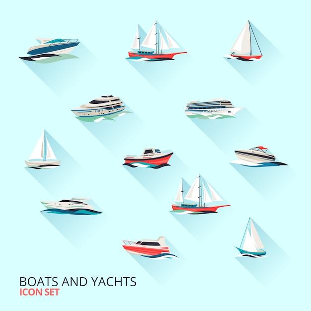 Conjunto de barcos, iates e veleiros Vetor grátis