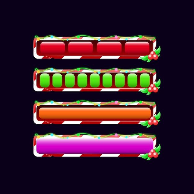 Conjunto de barra de progresso de carregamento de gui de natal em várias cores e estilos Vetor Premium