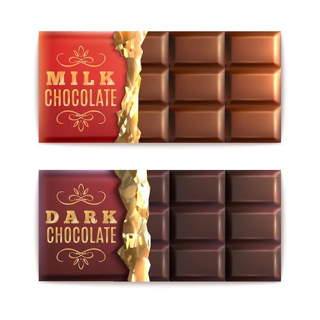 Conjunto de barras de chocolate Vetor grátis