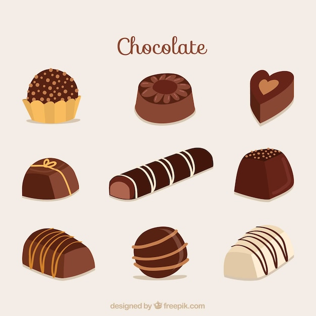 Conjunto de barras e pedaços de chocolate delicioso Vetor grátis
