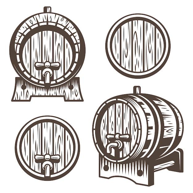 Conjunto de barris de madeira vintage em diferentes escorços. estilo monocromático. isolado em fundo branco Vetor grátis