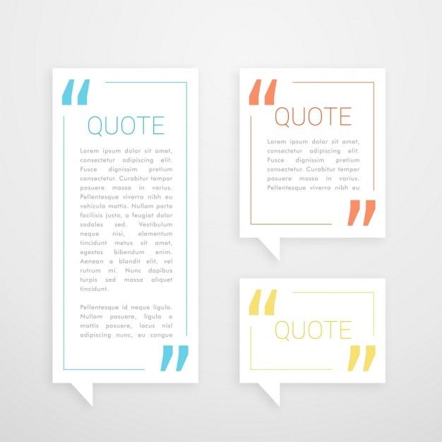 Conjunto de bate-papo bolha três citação em branco estilo minimalista Vetor grátis