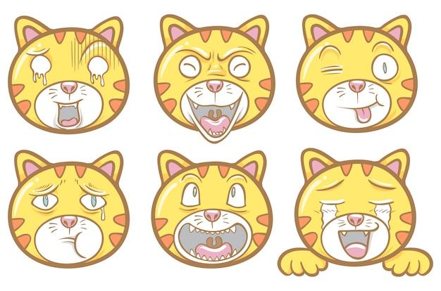 Conjunto de bate-papo de adesivo de ilustração de emoticons de gato bonito Vetor Premium