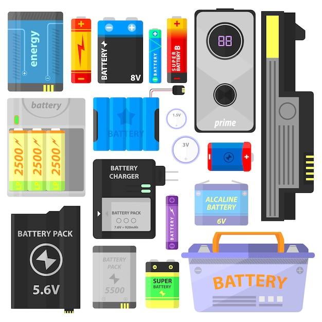 Conjunto de bateria alcalina e acumulador. Vetor Premium