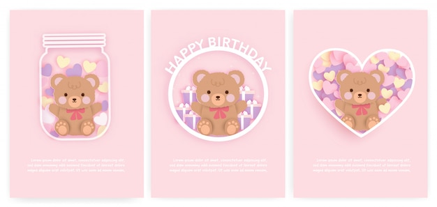 Conjunto de bebê chuveiro cartões e cartões de aniversário com urso fofo e bolo. Vetor Premium