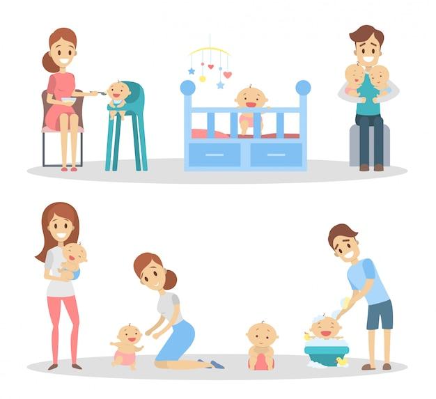 Conjunto de bebê com pais. alimentando e brincando com o bebê. Vetor Premium
