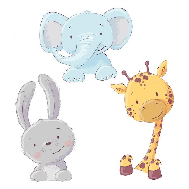 Conjunto de bebê elefante coelho e girafa. estilo dos desenhos animados. vetor Vetor Premium