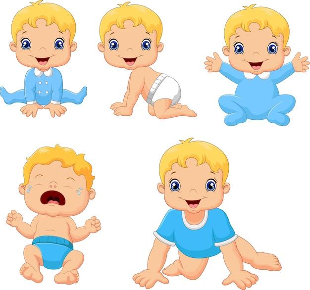Conjunto de bebês fofos em várias poses Vetor Premium