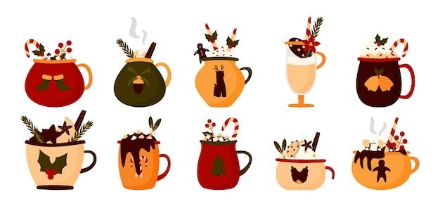 Conjunto de bebida da caneca de natal. cacau de férias quentes com marshmallows, xícara de chocolate quente, café de inverno. Vetor Premium