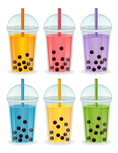 Conjunto de bebidas com bolhas e tapioca Vetor Premium