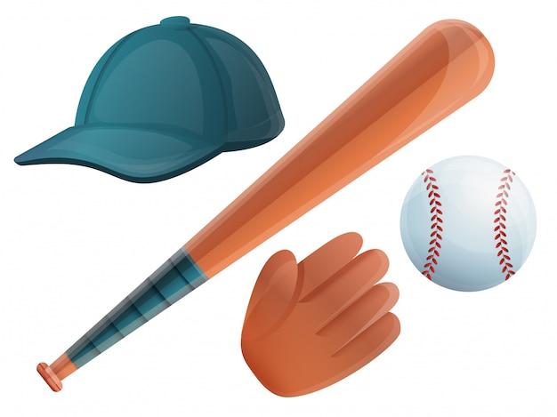 Conjunto de beisebol. conjunto de desenhos animados de beisebol Vetor Premium