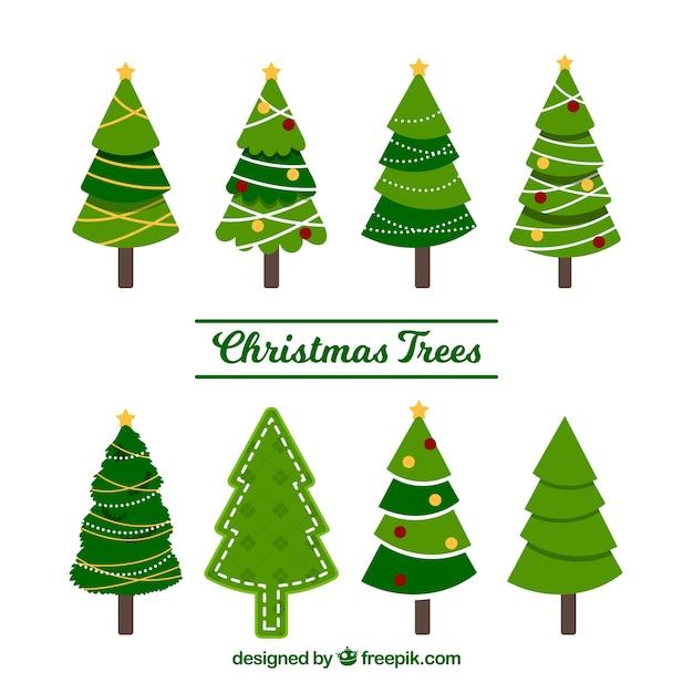 Conjunto de belas árvores de natal Vetor grátis