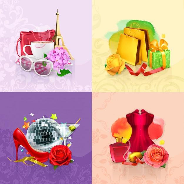 Conjunto de beleza e cosméticos Vetor Premium