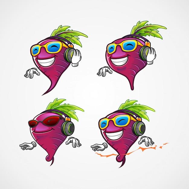 Conjunto de beterraba dj para o personagem de desenho animado de mascote de música batida Vetor Premium