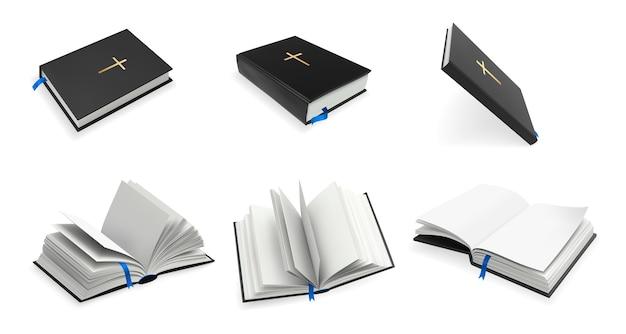 Conjunto de bíblia sagrada do cristianismo realista. Vetor Premium