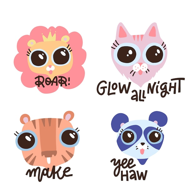 Conjunto de bichinhos com citações da rotulação da camisa. mão ilustrações desenhadas. rostos de leão, gato, tigre e panda. texto de caligrafia - roar, brilhar a noite toda, make, yeehaw. Vetor Premium