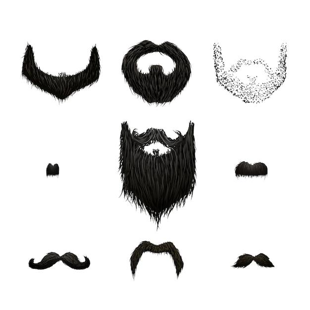 Conjunto de bigodes pretos detalhados e barbas isoladas no branco Vetor Premium