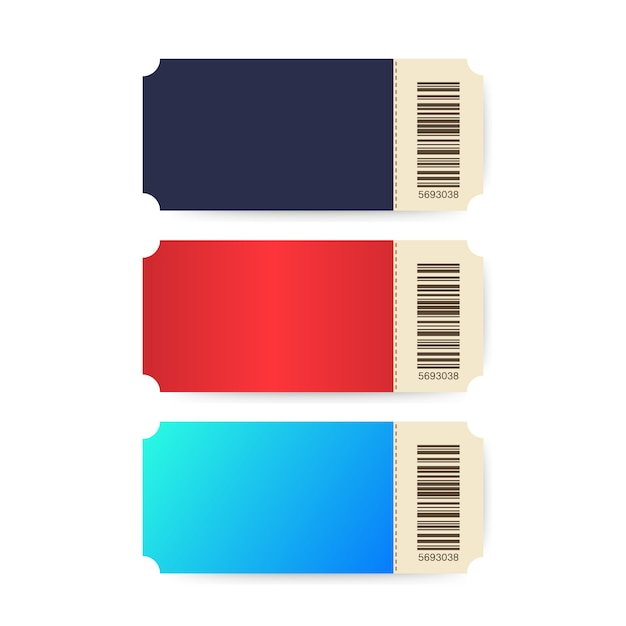 Conjunto de bilhetes. bilhetes de modelo. bilhete colorido do cinema isolado no fundo branco. Vetor Premium