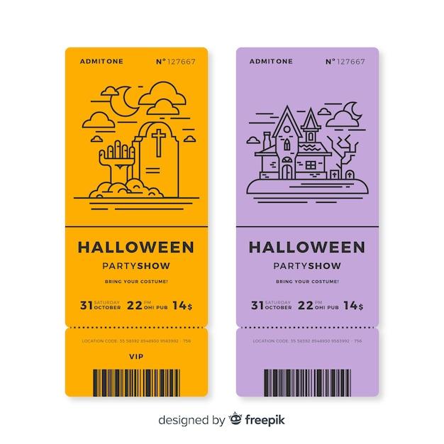 Conjunto de bilhetes de festa de halloween com desenhos de contorno Vetor grátis