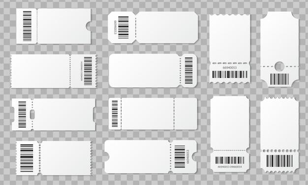Conjunto de bilhetes em branco com código de barras. modelo de bilhetes para concertos, filmes, teatro e embarque, cupons de loteria e descontos com bordas com babados Vetor Premium