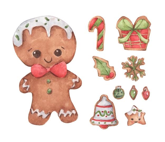 Conjunto de biscoitos bonitos de gengibre. ilustração em aquarela. Vetor Premium