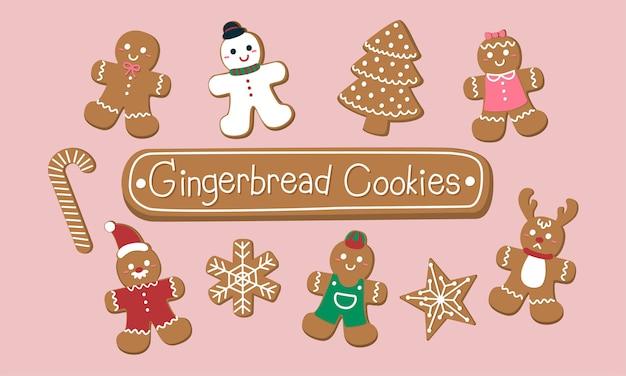 Conjunto de biscoitos de gengibre fofos para o natal. Vetor grátis
