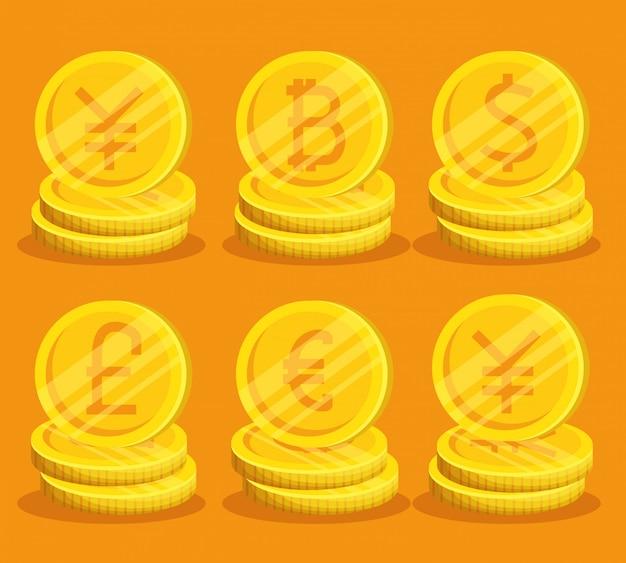 Conjunto de bitcoins dourados Vetor grátis