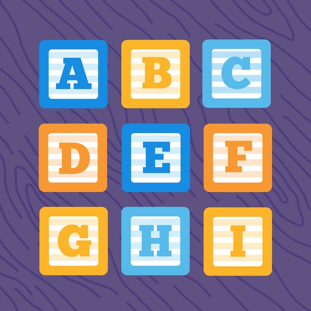 Conjunto de blocos de bebê de alfabeto de vetor plano Vetor Premium